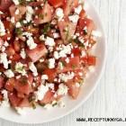 Arbūzo, pomidorų ir feta sūrio salotos